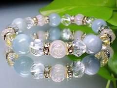 天然石◆薔薇彫ローズクオーツ§トルネ-ド水晶§アクアマリン
