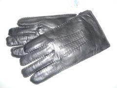 高品質イタリア皮革使用裏地総ニット手袋黒25サイズポルトラーノ