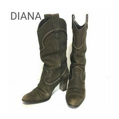 正規 DIANA レザー ウエスタンブーツ ブラウン ダイアナ 22.5cm