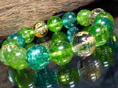守り本尊梵字十二支グリーンクラック水晶12ミリ数珠