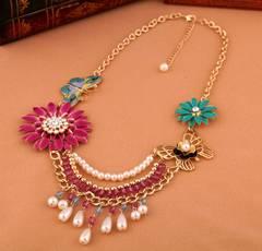 新品ゴスロリ姫系アンティーク調華やかな花蝶ネックレス