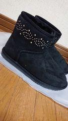 ムートン*ブーツ*ショート*黒*ビジュー*M