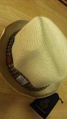新品未使用激安ヤンチャboyハリスツィード麦わら帽子54cmテープブラウン