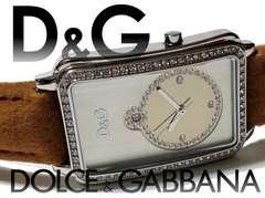 極美品 1スタ★【ドルガバ】D&G ジルコニア 美しいドレス腕時計