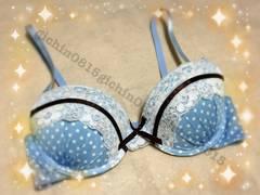 タンス整理品※お姉さんのドット水色ブラ☆C70