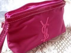 イヴ・サンローラン YSL ナイロン刺繍ポーチ ピンク