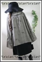 新品*刺繍×グレンチェックふんわりプルオーバー*大きいサイズ4L