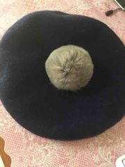 ポンポンベレー帽 ネイビー