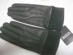 LANVINランバン黒鹿革手袋カウス部ニット23サイズS〜M