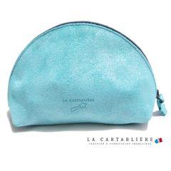 LA CARTABLIEREフランス製きらきらスエード 半円ポーチ#Lフ