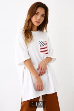 ロデオ★ 星条旗 BIG ポケット チュニック/白