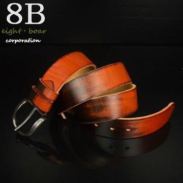 ◆牛本革 ビンテージ加工ベルト 長さ調整可 110cm◆茶k3