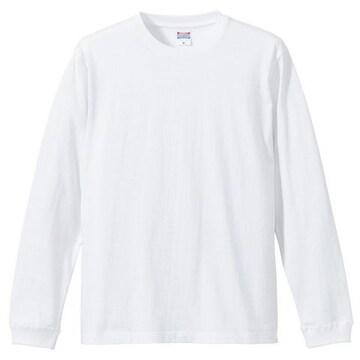 5.6オンス ロングスリーブTシャツ(1.6インチリブ)ホワイトXXL