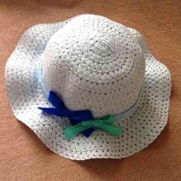 キッズ 子供用 ブルー レース リボン ハット 帽子