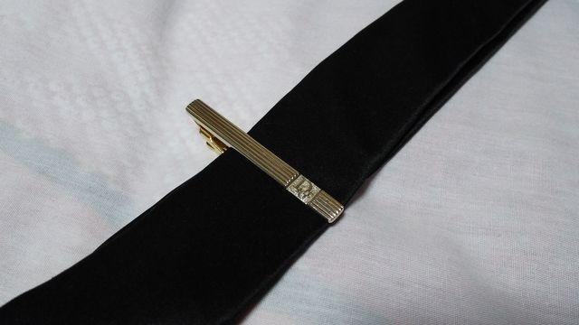 正規 ディオール Christian Dior ロゴ×ストライプ ヴィンテージネクタイピン タイバー < ブランドの