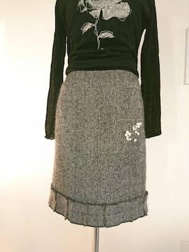 SONIA BY SONIA RYKIEL/ソニアリキエル/キラキラビジュー付ツイードスカート/サイズ34