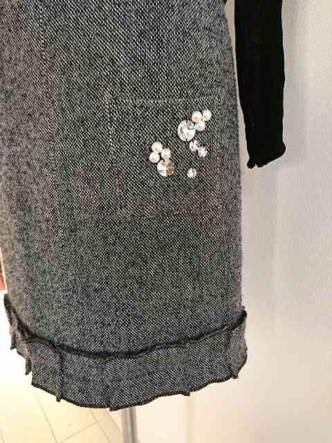 SONIA BY SONIA RYKIEL/ソニアリキエル/キラキラビジュー付ツイードスカート/サイズ34 < ブランドの