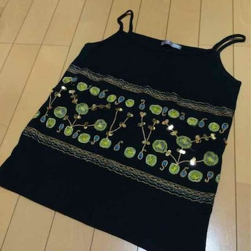 スパンコール&刺繍◆キャミソール◆Lキラキラ