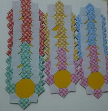 ☆折り紙メダル 花メダル チェック柄35枚☆