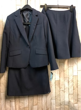 新品☆9号小さいプチサイズ2種類のスカートスーツ紺☆s857