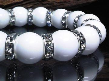 ホワイトオニキス12ミリ銀ロンデル数珠