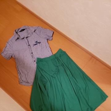 moussyギンガムチェック半袖シャツ×神戸レタススカート2点#コーデセット