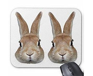 2匹のウサギの顔のマウスパッド