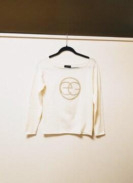EGOIST◆エゴイスト白×goldデカロゴニット◆セーター