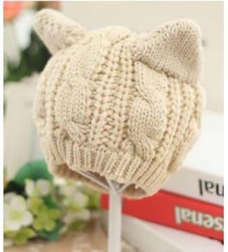 ★送料無料★ 猫耳 ニット帽 フリーサイズ 伸びる素材 小顔