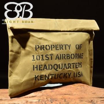 ◆加工帆布 ミリタリークラッチバッグ セカンドバッグ◆茶k15