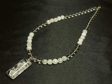 開運天然石 浮彫龍水晶プレート×本水晶×クラック数珠ネックレス
