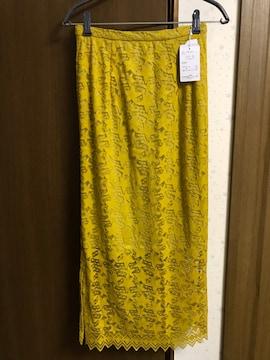 Mサイズ 星柄レース Iラインスカート 濃黄