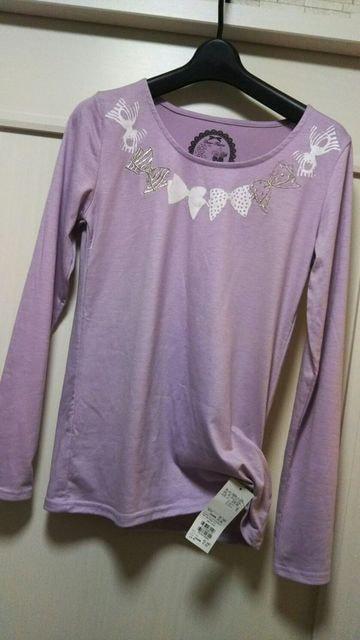 新品タグ付きM DEAR FLURA 刺繍リボン柄長袖カットソーパープル  < 女性ファッションの
