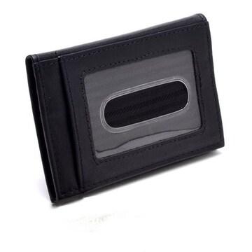 牛革 二つ折り カードケース 定期入れ ブラック