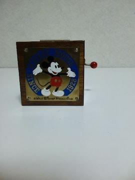 レトロなミッキー木製オルゴール