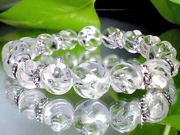 美麗トルネ-ド水晶・銀色ロンデル12ミリ・10ミリ