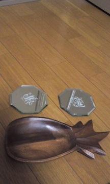 8角形硝子プレート二枚セット★オマケ付き