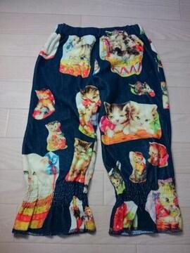 ●ムチャチャ● ネコ柄転写プリ パイル生地パンツ M
