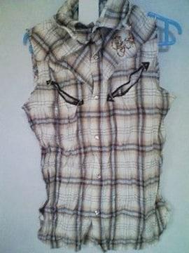 Aー114★新品★スパンコールシャツ ブラウン  M