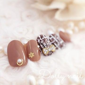 みぢょ!ショートオーバル大人可愛いチョコレートカラー茶色ブラウン秋冬ツイード柄ネイル