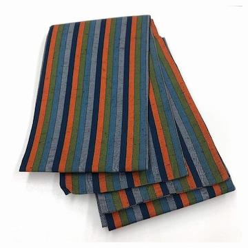 半幅帯 綿 紬 紺色 縞 織り模様 オレンジ リサイクル