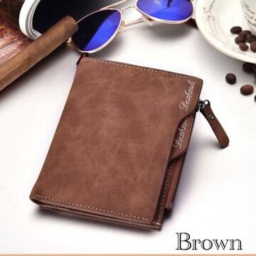 財布 二つ折り財布 ヴィンテージ レザー 札入れ ブラウン