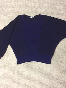 495.長袖ニットトップス☆黒×紫☆L程度