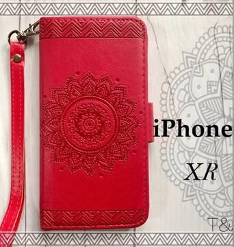 iPhoneXR 手帳型ケース 花柄 エンボス型押し フィルム レッド