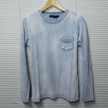 SALEスタッズ付きインディゴ染め長袖Tシャツ/BLEACH/M