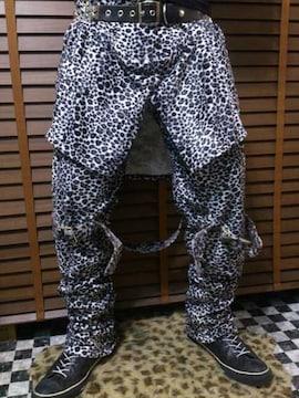 即決Fxxk白黒豹柄レオパードファーボンテージパンツ!ゴシックパンクロックスタイル