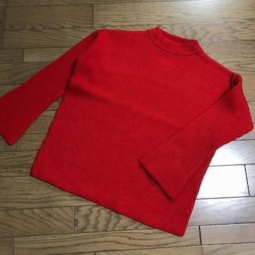 新品ルシェルブルー 赤レッド フレアスリーブ畦編みウールニット