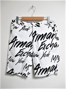 A/X アルマーニ エクスチェンジ 総柄 プリント ロゴ ショーツ ハーフパンツ 短パン/メンズ/30