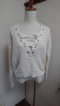 H&M☆クリームホワイト色☆胸あき☆ざっくりセーター☆ニット