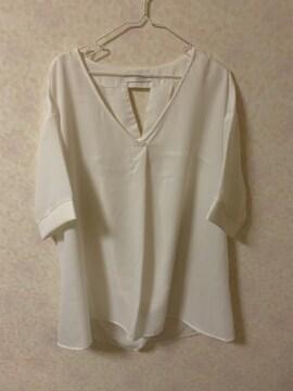 セシルマクビー白チュニックシャツ新品ゆったりシフォンブラウス